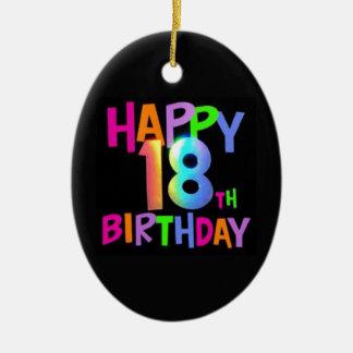 HAPPY 18TH BIRTHDAY MULTI COLOUR CERAMIC OVAL DECORATION