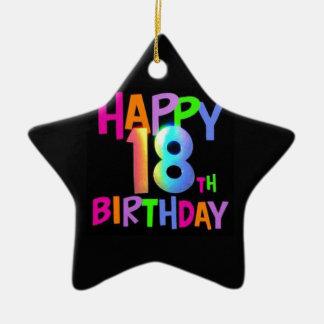 HAPPY 18TH BIRTHDAY MULTI COLOUR CERAMIC STAR DECORATION