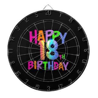 HAPPY 18TH BIRTHDAY MULTI COLOUR DARTBOARD
