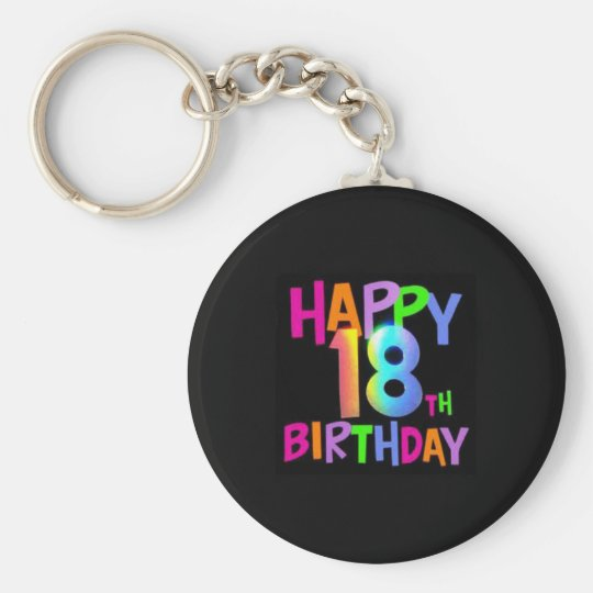 HAPPY 18TH BIRTHDAY MULTI COLOUR KEY RING