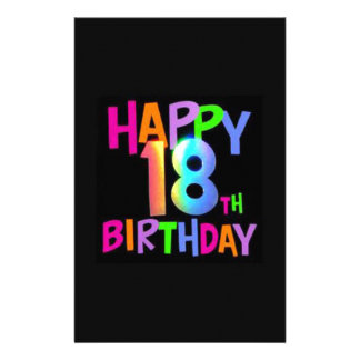 HAPPY 18TH BIRTHDAY MULTI COLOUR PERSONALIZED STATIONERY