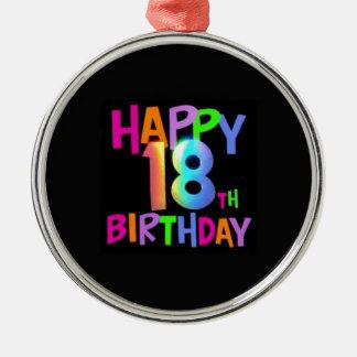 HAPPY 18TH BIRTHDAY MULTI COLOUR Silver-Colored ROUND DECORATION