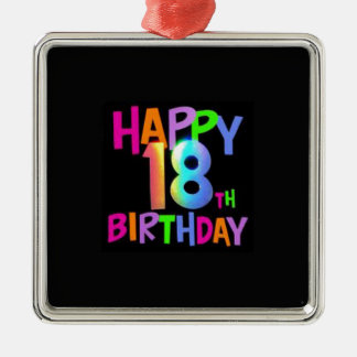 HAPPY 18TH BIRTHDAY MULTI COLOUR Silver-Colored SQUARE DECORATION