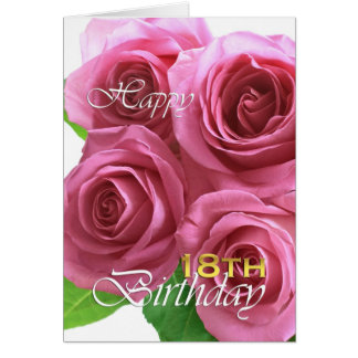 Happy 18th birthday, pink roses greeting card
