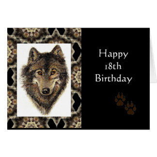 Happy 18th Birthday with Watercolor Wolf Greeting Card
