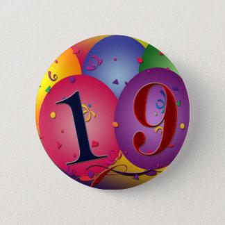 Happy 19th birthday 6 cm round badge