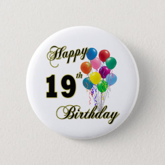 Happy 19th Birthday Merchandise 6 Cm Round Badge