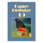 Happy 19th Birthday Monarch Butterfly Greeting Card