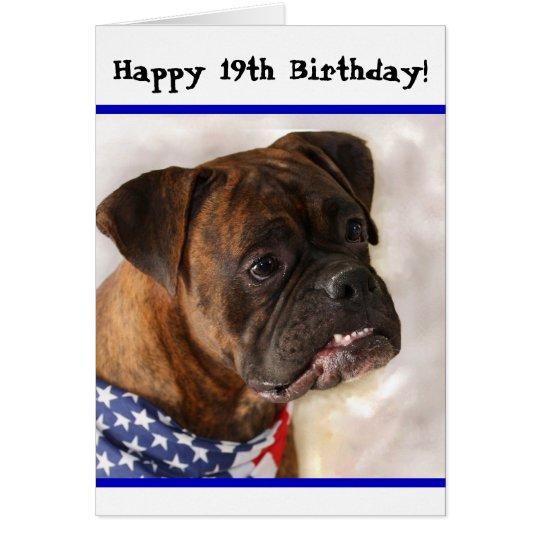 Happy 19th Birthday Patriotic Boxer greeting card