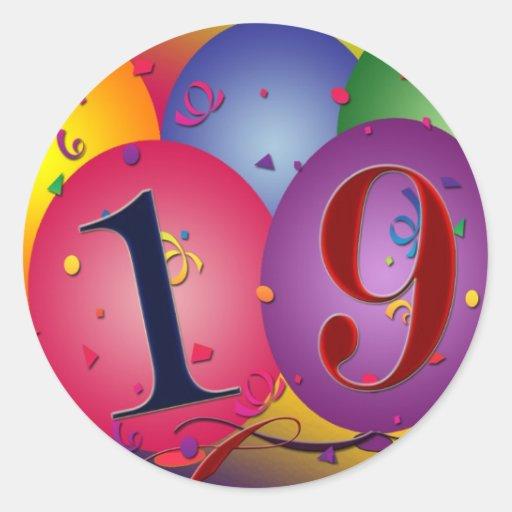 Ns 19th Birthday Balloons Happy Round Sticker