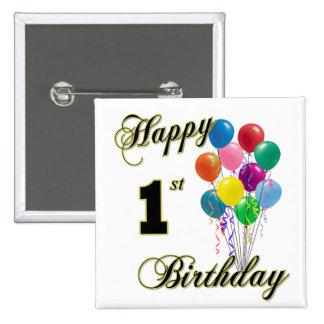 Happy 1st Birthday 15 Cm Square Badge