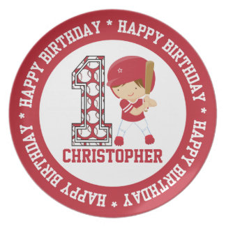 Happy 1st Birthday Baseball Batter Red Plate