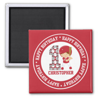 Happy 1st Birthday Baseball Batter Red Square Magnet