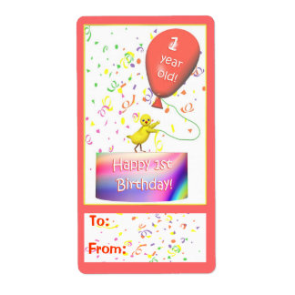 Happy 1st Birthday Chicken Gift Tag Shipping Label