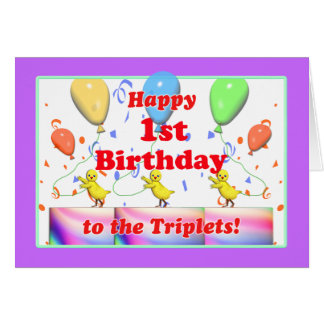 Happy 1st Birthday Chickens for Triplets Greeting Card