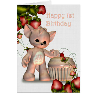 Happy 1st Birthday Girl Greeting Card
