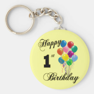 Happy 1st Birthday Keychain and Birthday Apparel