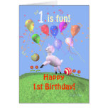 Happy 1st Birthday Lamb and Balloons Greeting Card