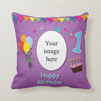 Happy 1st Birthday Pillow with Your Photo