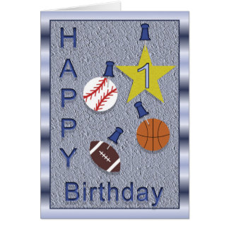 Happy 1st Birthday Sports Themed Greeting Card