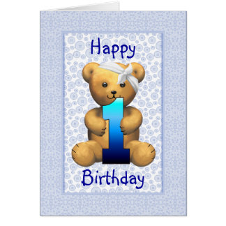 Happy 1st Birthday Teddy Bear Greeting Card
