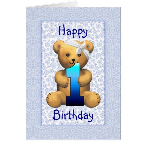 Happy 1st Birthday Teddy Bear Greeting Card | Zazzle
