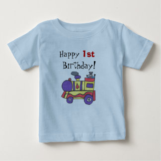 """HAPPY 1ST BIRTHDAY"" TEE SHIRT WITH TRAIN DESIGN."
