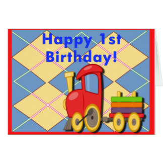 Happy 1st Birthday Train Greeting Card