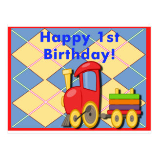 Happy 1st Birthday Train Postcard