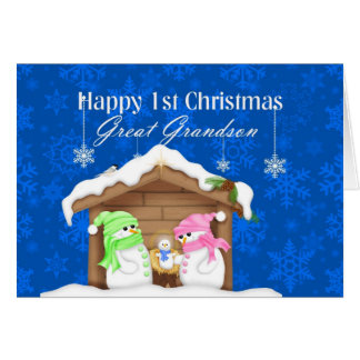 Happy 1st Christmas Great Grandson Greeting Card