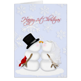 Happy 1st Christmas, snow couple, snowflakes Card