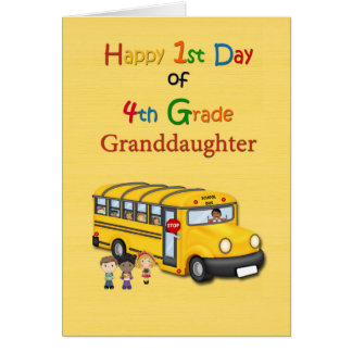 Happy 1st Day of 4th Grade, Grandson, School Bus Greeting Card