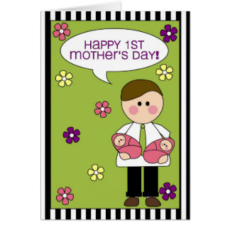 happy 1st mother's day (twin girls) greeting card