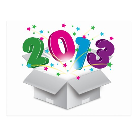 Happy 2013 bursting open box postcard