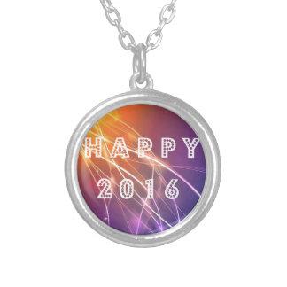 Happy 2016 round pendant necklace