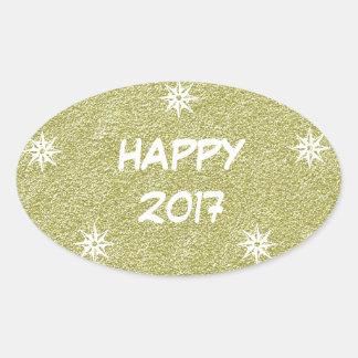 Happy 2017, Happy New Year Gold Glitter Sticker