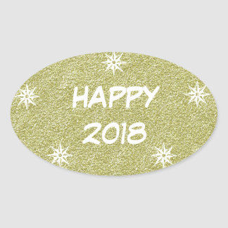 Happy 2018, Happy New Year Gold Glitter Sticker