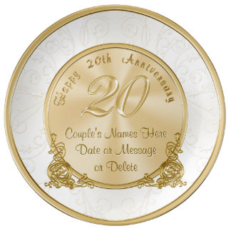 Happy 20th Anniversary Gifts PERSONALIZED Plate Porcelain Plate