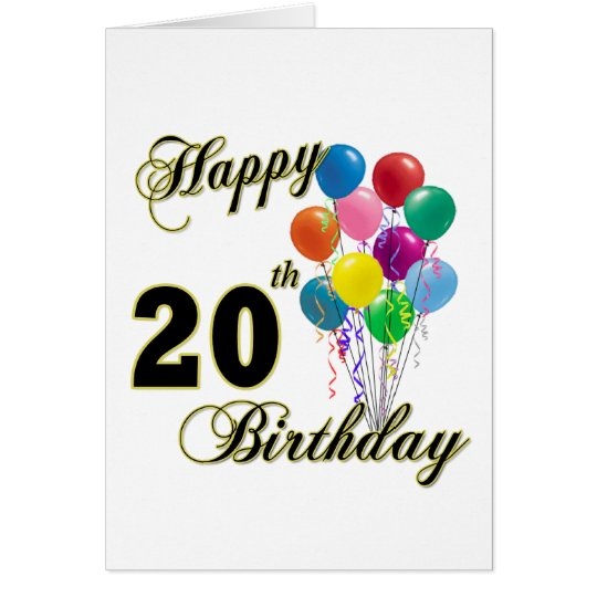 Happy 20th Birthday Gifts and Birthday Apparel Card