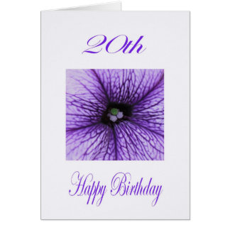 Happy 20th Birthday  purple Blossom Greeting Card