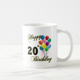 Happy 20th Birthday with Balloons Coffee Mug