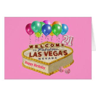 Happy 21 Birthday Las Vegas CAKE Card.