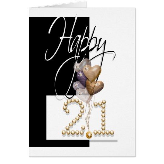 Happy 21st birthday balloons elegant card