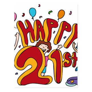 Happy 21st Birthday Cartoon Postcard