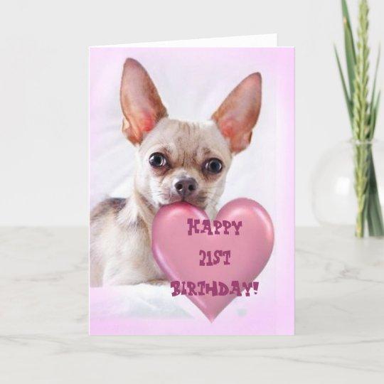 Happy 21st Birthday Chihuahua Greeting Card Zazzle