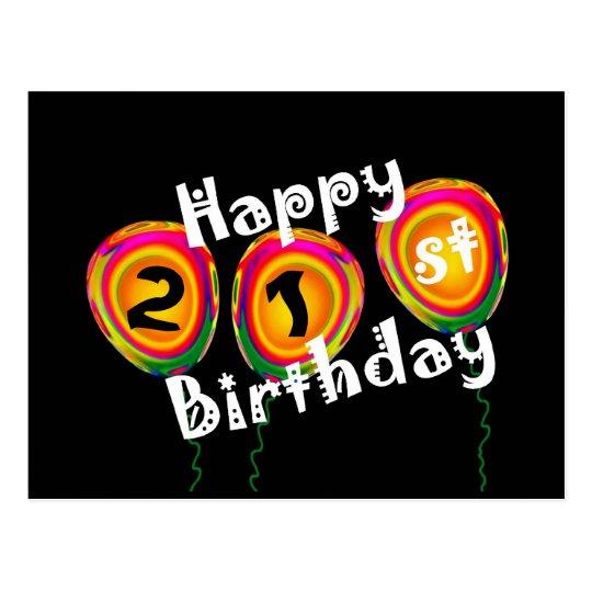 Happy 21st Birthday Colourful Balloons Postcard