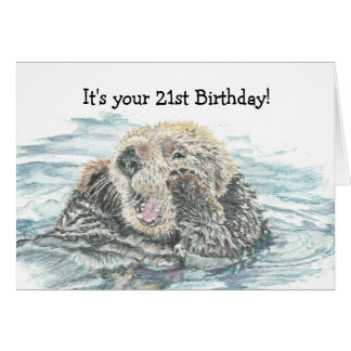 Happy 21st   Birthday Cute Excited Otter Humorous Greeting Card