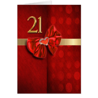 Happy 21st birthday elegant heart greeting card