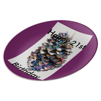 Happy 21st Birthday, Greeting, Gift, Card,BIRTHDAY Porcelain Plate