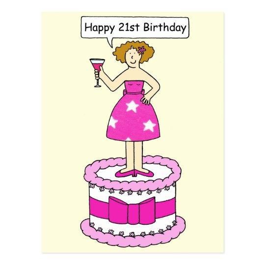 Happy 21st Birthday Lady on a Cake. Postcard